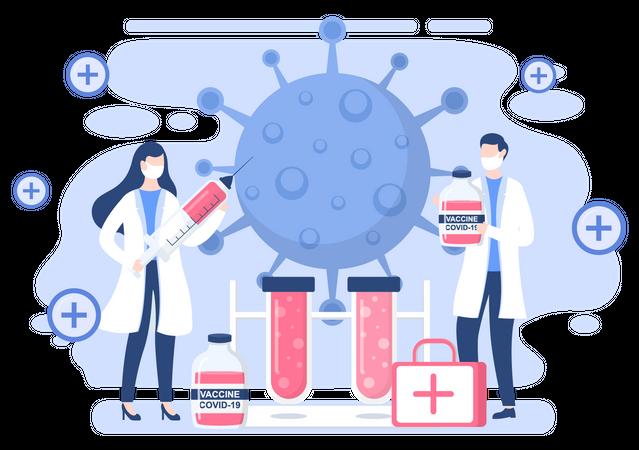 Corona vaccination research Illustration