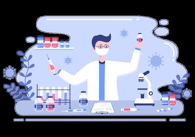 Corona Vaccine Researcher Illustration
