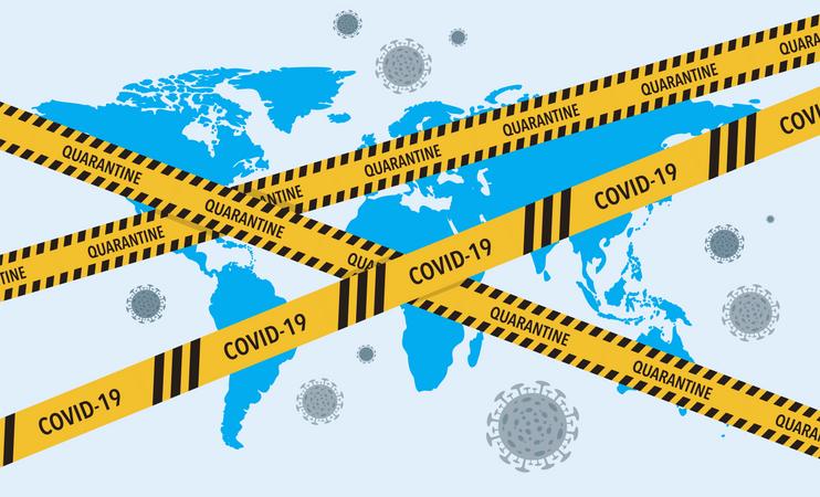 Corona Virus lockdown barrier tape over a world Illustration