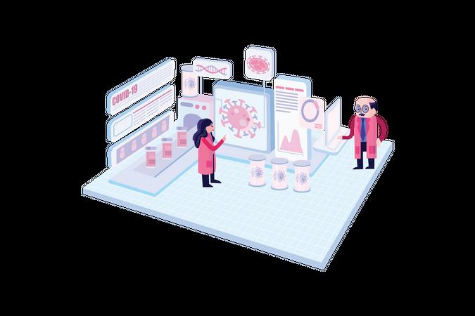 Corona Virus Research Team Illustration