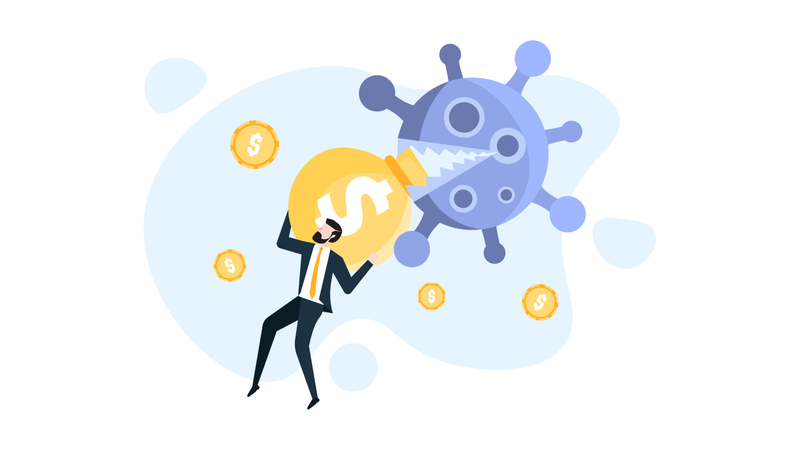 Coronavirus and Financial Impact on business Illustration