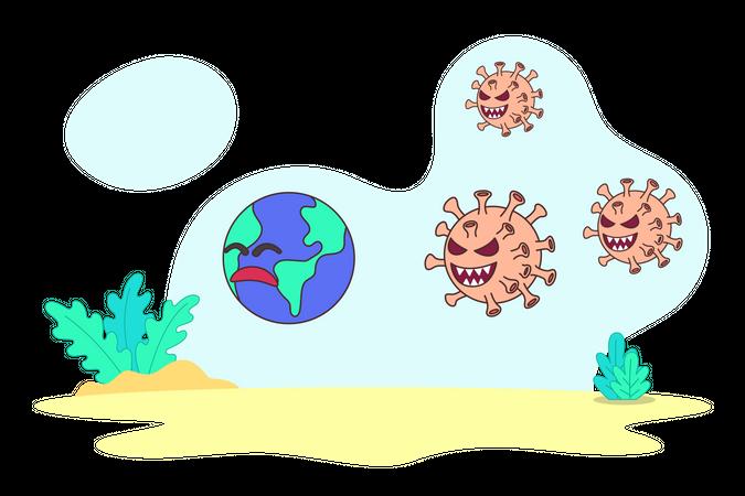 Coronavirus as Villain Illustration