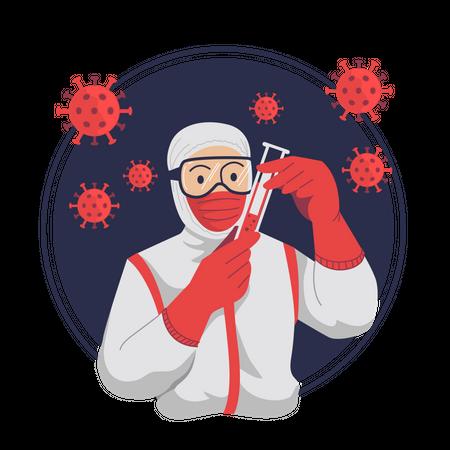 Coronavirus Blood Test Positive Infected Illustration