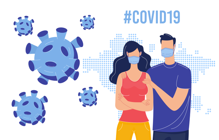 Coronavirus Danger, Human Population Protection from Viral Disease, Contamination Prevention with Personal Hygiene Concept Illustration