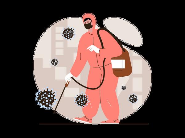 Coronavirus disinfection Illustration