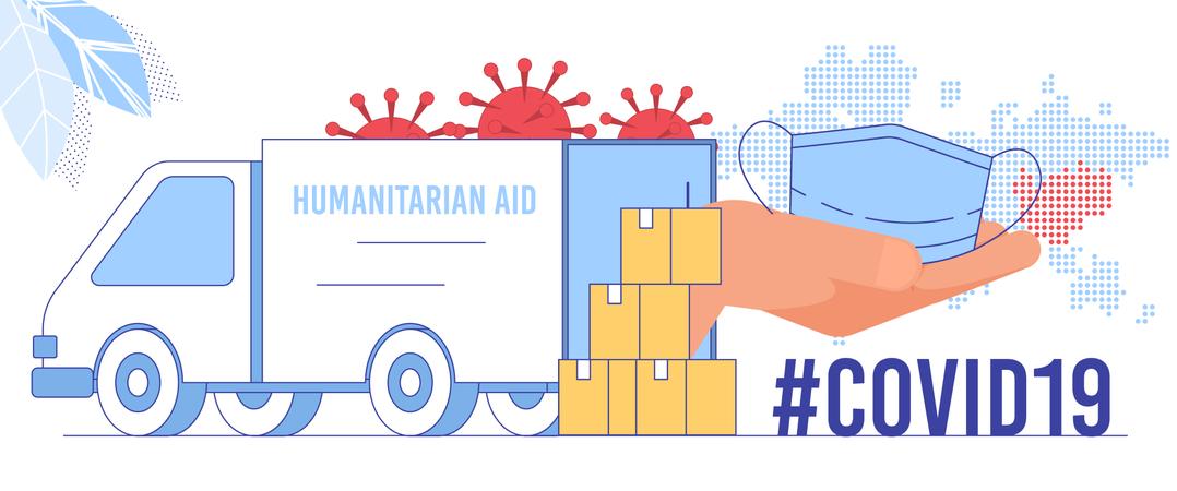 Coronavirus Epidemic Global Crisis, Humanitarian Aid Emergency Delivery, Face Mask Deficit Problem Solving Concept Illustration