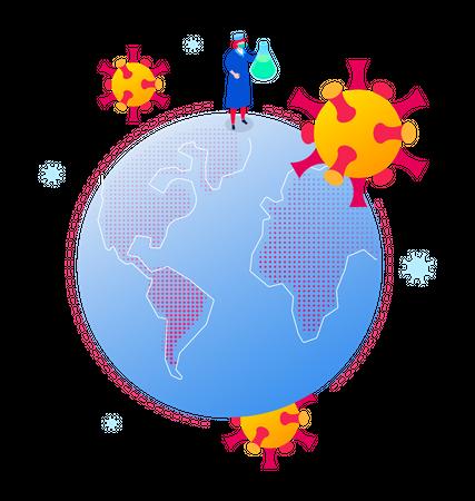 Coronavirus global spread Illustration