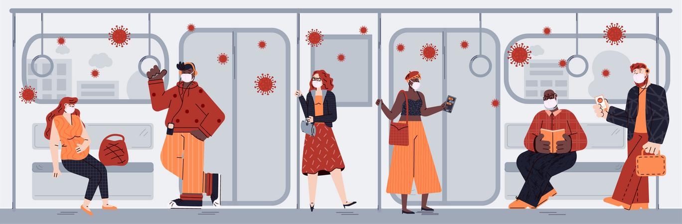 Coronavirus infection spread in subway train Illustration