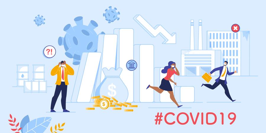 Coronavirus Influence on Global Market and Economy Illustration