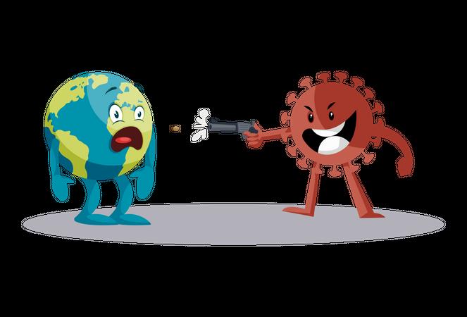 Coronavirus is killing earth Illustration
