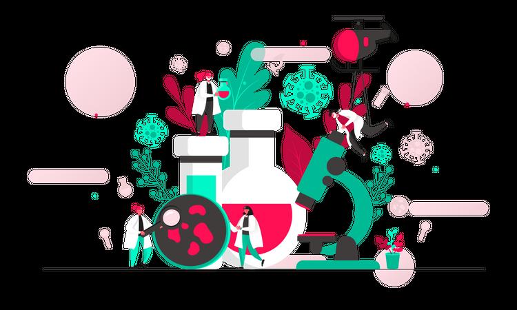 Coronavirus laboratory Illustration