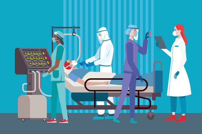 Coronavirus patient on a respirator attended by a team of Female and Male Doctors or Nurses Wearing different Personal Protective Equipment in the ICU of Hospital Illustration