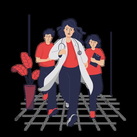 Coronavirus Running Doctor Emergency Illustration Concept Illustration