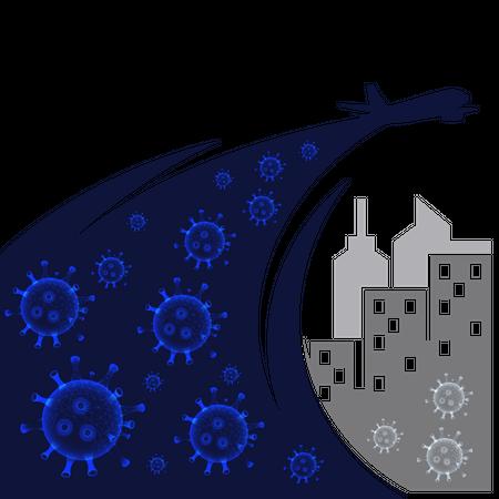 Coronavirus spread during transportation Illustration