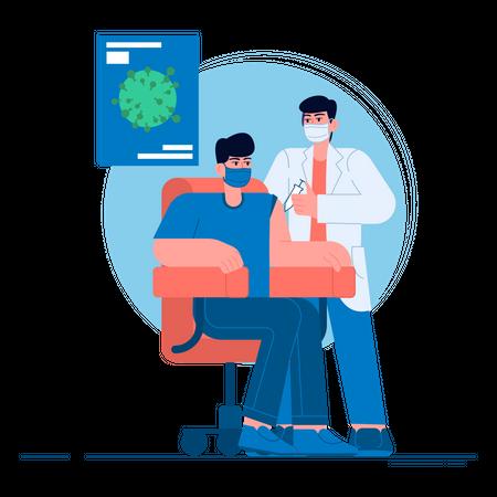 Coronavirus vaccination center Illustration