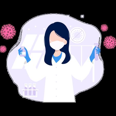 Coronavirus Vaccination Research Illustration