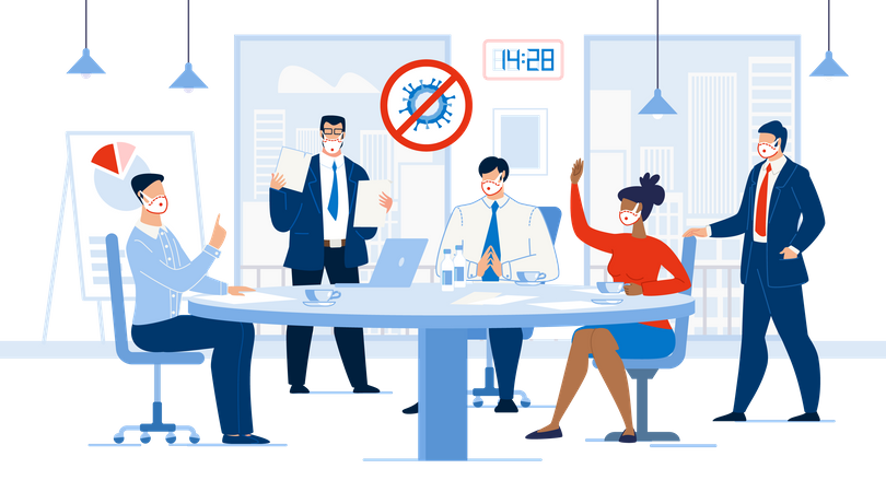 Corporate Meeting Conference Working Environment Illustration