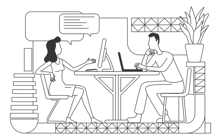 Corporate workers working on project Illustration