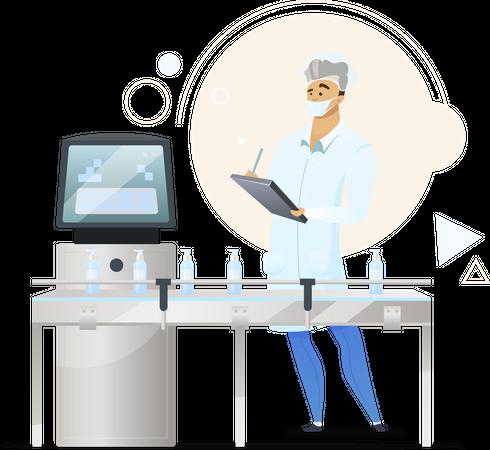 Cosmetics manufacturing process Illustration