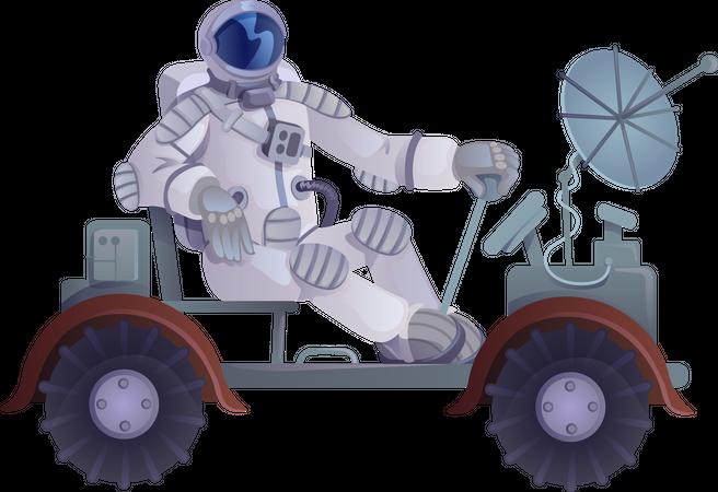 Cosmonaut in lunar rover Illustration