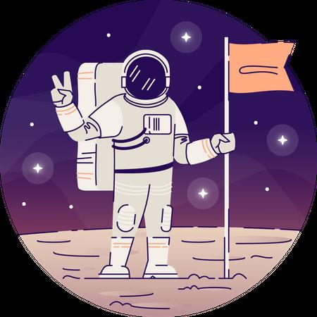 Cosmonaut placing flag on moon Illustration