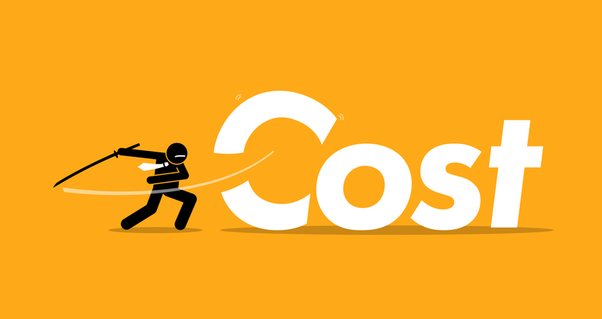 Cost cutting by businessman. Illustration