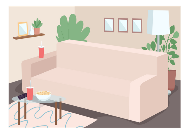 Couch for family leisure time Illustration
