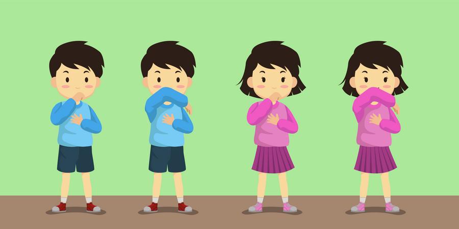 Coughing method during coronavirus Illustration