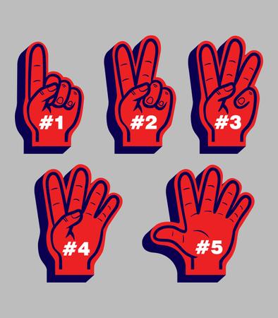 Counting Finger Glove Sport Fans Illustration