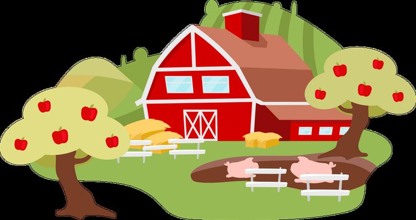 Countryside farm Illustration