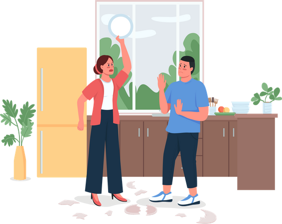 Couple arguing in kitchen Illustration
