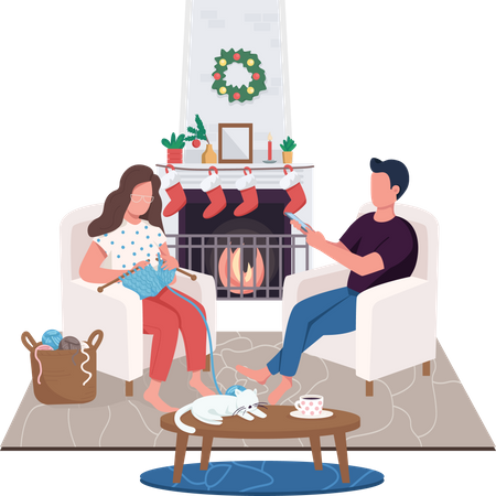 Couple at home fireplace Illustration