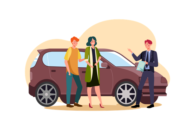 Couple booking new car Illustration