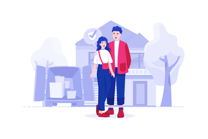 Couple bought new house from home loan Illustration