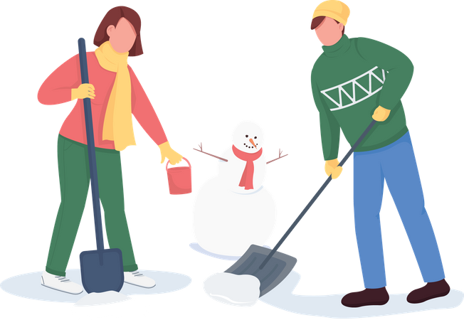 Couple building snowman Illustration