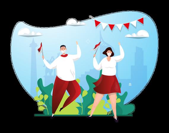 Couple Celebrating Indonesia independence day Illustration