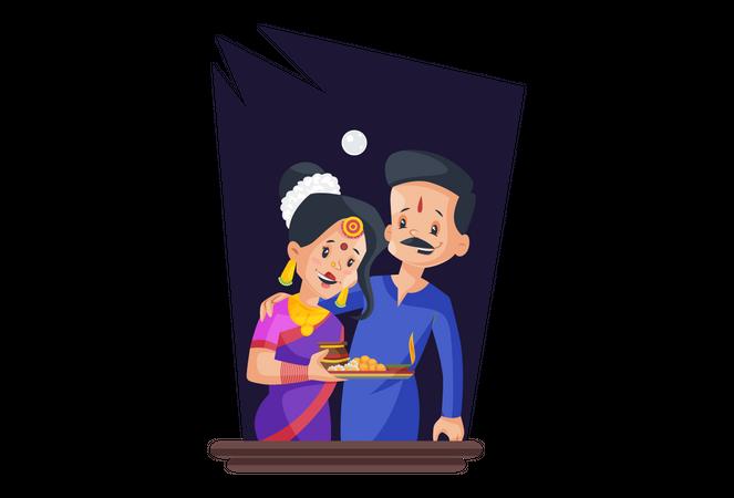 Couple celebrating karwachauth togehter Illustration