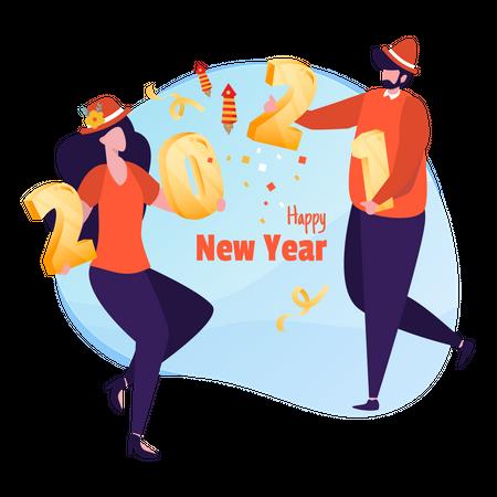 Couple celebrating New year 2021 Illustration