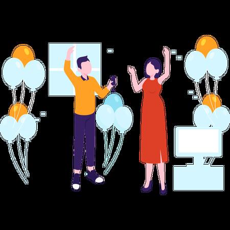 Couple celebrating new year evening Illustration