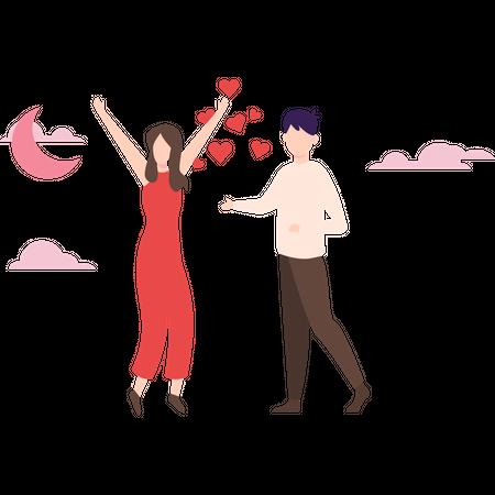 Couple celebrating romantic night date Illustration