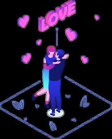 Couple Celebrating Valentine Illustration