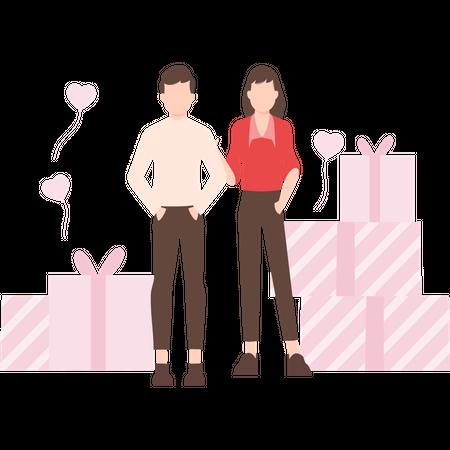 Couple celebrating valentine day Illustration
