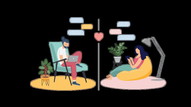 Couple chatting during self isolation Illustration