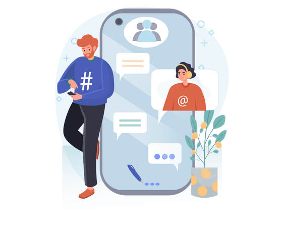 Couple chatting on mobile Illustration