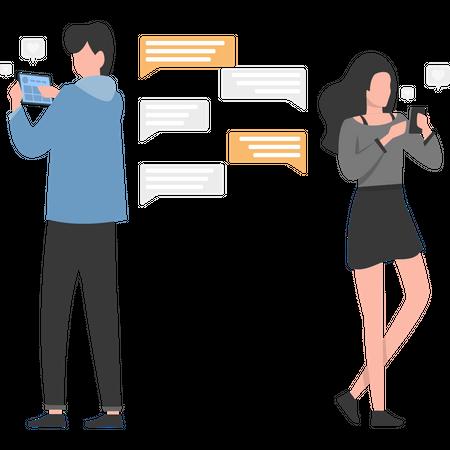 Couple chatting on social media Illustration