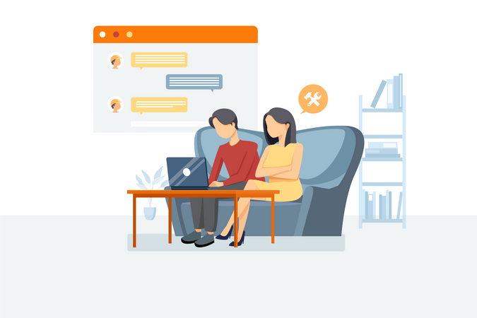 Couple checking online app for home maintenance Illustration
