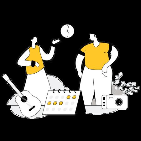 Couple choosing travel date Illustration