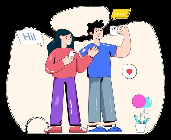 Couple clicking selfie and uploading it on social media Illustration