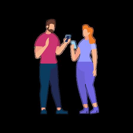 Couple communicating holding smartphone Illustration