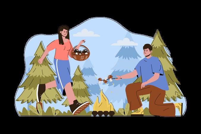 Couple cooking mushroom dish Illustration
